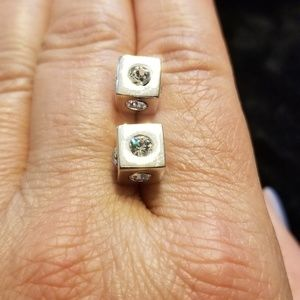 Silver and CZ cube fashion earrings